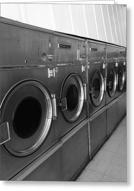 Launderette Greeting Cards - Laundromat Black And White Greeting Card by Dan Sproul