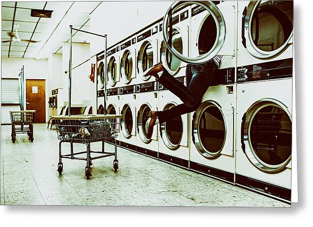 Washday Greeting Cards - Laundromat Blues Greeting Card by Mountain Dreams