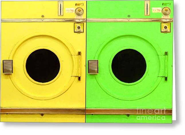 Laundromat Drying Machines Two 20130801a Greeting Card by Wingsdomain Art and Photography