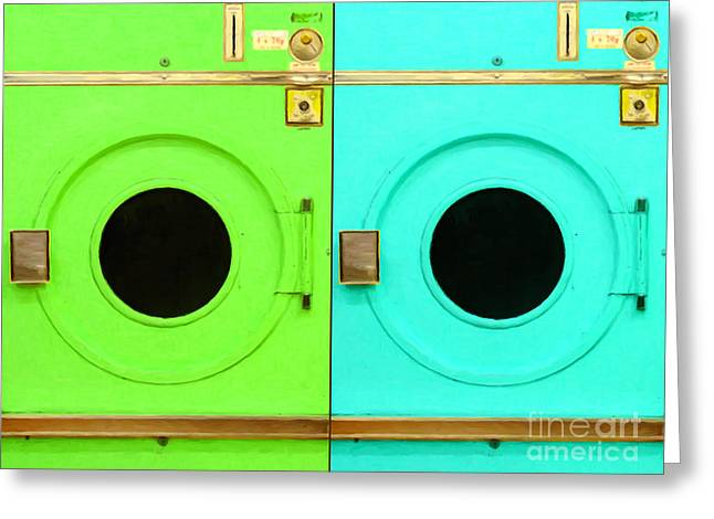 Mundane Greeting Cards - Laundromat Drying Machines Two 20130801b Greeting Card by Wingsdomain Art and Photography