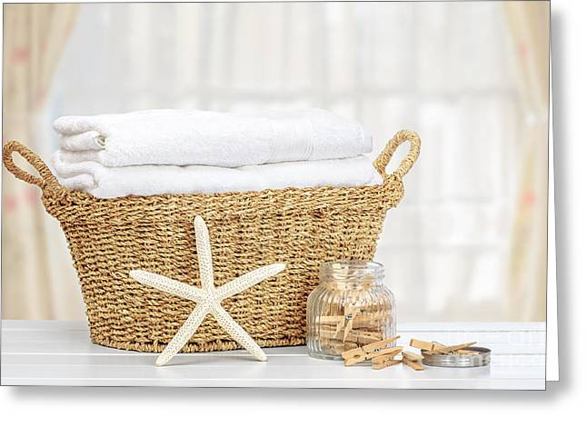 Peg Greeting Cards - Laundry Basket Greeting Card by Amanda And Christopher Elwell