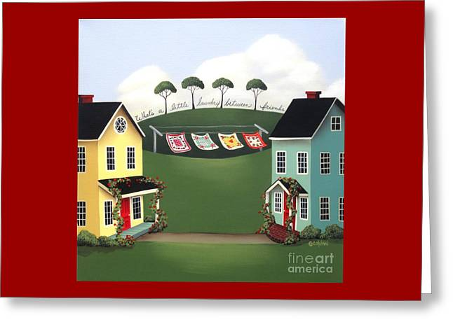 Laundry Between Friends Greeting Card by Catherine Holman