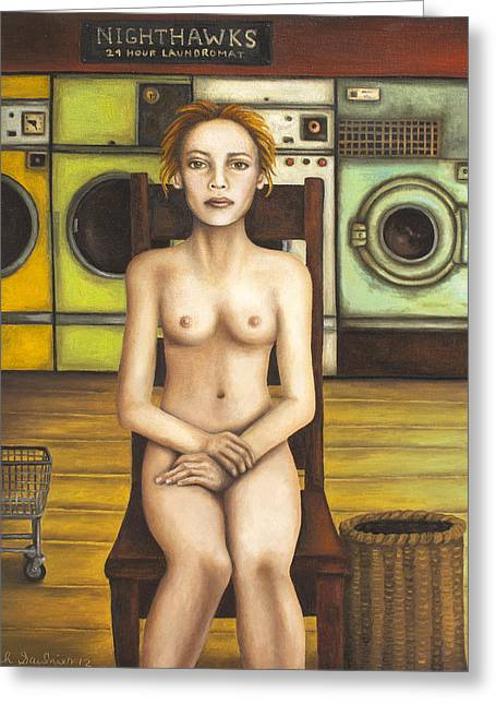 Depression Greeting Cards - Laundry Day 5 Greeting Card by Leah Saulnier The Painting Maniac