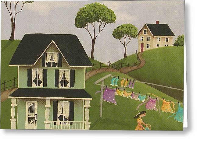 Country Cottage Greeting Cards - Laundry Day Greeting Card by Catherine Holman
