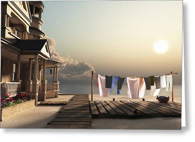 3d Greeting Cards - Laundry Day Greeting Card by Cynthia Decker