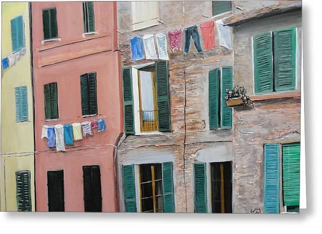 Sienna Italy Greeting Cards - Laundry Day Greeting Card by Cynthia Langford