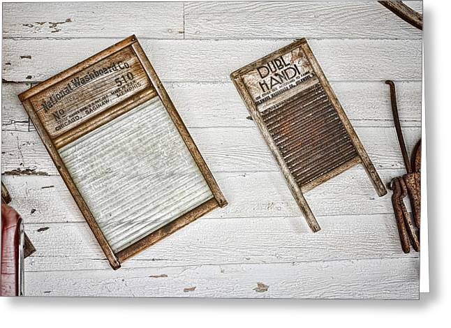 Old Washboards Photographs Greeting Cards - Laundry Day Greeting Card by Heather Applegate