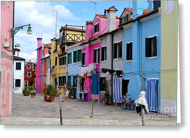 Laundry Day In Burano Venice 1 Greeting Card by Ana Maria Edulescu