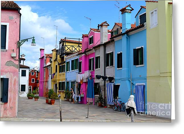 Laundry Day In Burano Venice 3 Greeting Card by Ana Maria Edulescu