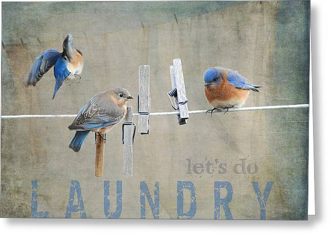 Clothing Photographs Greeting Cards - Laundry Day - Lets Do Laundry Greeting Card by Jai Johnson