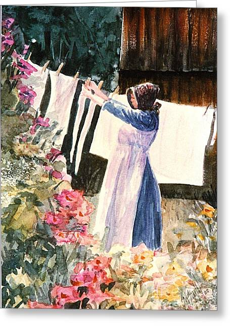 Doing Laundry Greeting Cards - Laundry Day Greeting Card by Marilyn Smith
