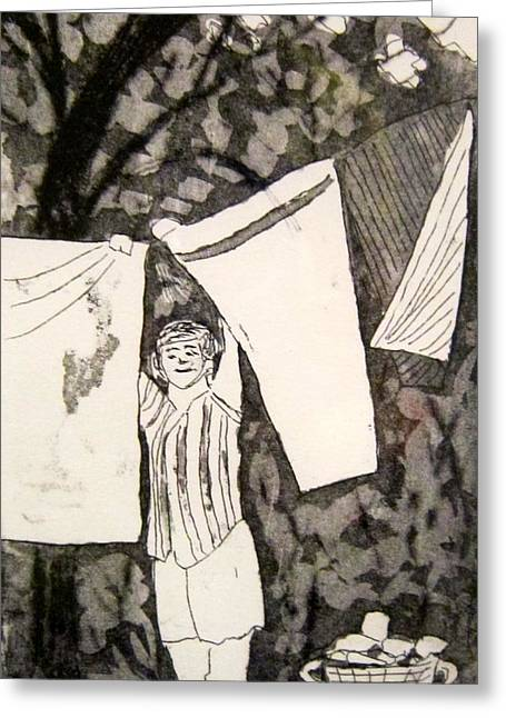 Drypoint Greeting Cards - Laundry Day Greeting Card by Marita McVeigh