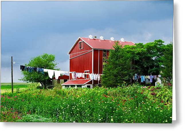 Amish Farms Digital Art Greeting Cards - Laundry Day on the Farm Greeting Card by Bill Cannon