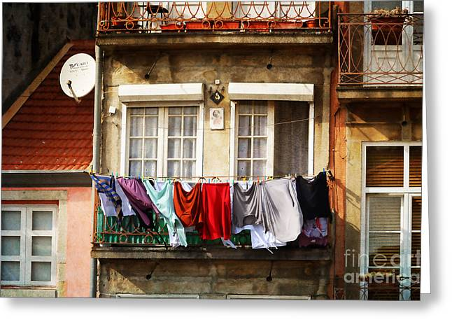 Iron Rail Greeting Cards - Laundry Day - Oporto Greeting Card by Mary Machare