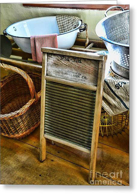 Old Washboards Photographs Greeting Cards - Laundry Day Greeting Card by Paul Ward