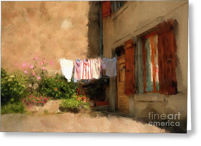 Languedoc Greeting Cards - Laundry Day Greeting Card by Terry Rowe