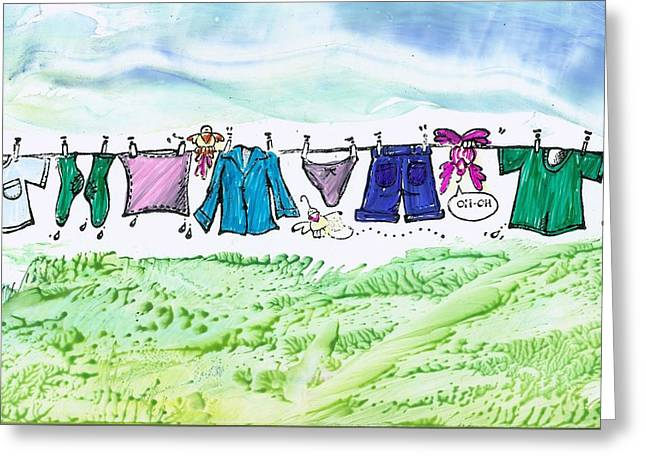 Phthalo Blue Greeting Cards - Laundry day Greeting Card by Trish Tinsley