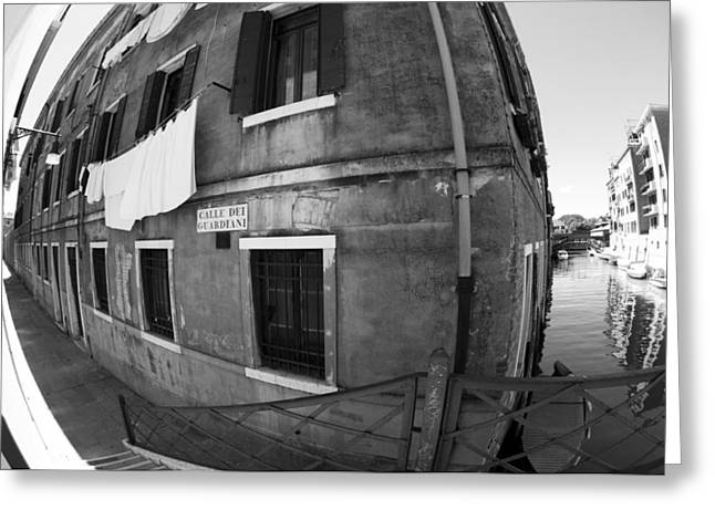 Metal Sheet Greeting Cards - Laundry Fish Eye I Black and White Venice Italy Greeting Card by Sally Rockefeller