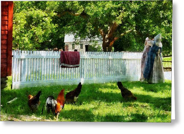 Chickens Greeting Cards - Laundry Hanging on Fence Greeting Card by Susan Savad