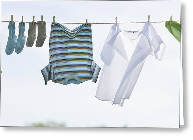 Doing Laundry Greeting Cards - Laundry Hanging On Outdoor Clothesline Greeting Card by Bruno Crescia