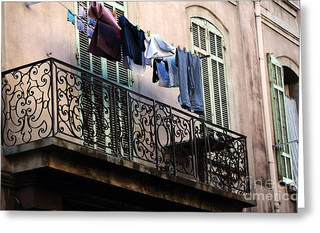 French Laundry Greeting Cards - Laundry in Marseille Greeting Card by John Rizzuto