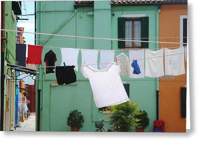 T Shirts Pyrography Greeting Cards - Laundry in Murano Greeting Card by Ran Ezra