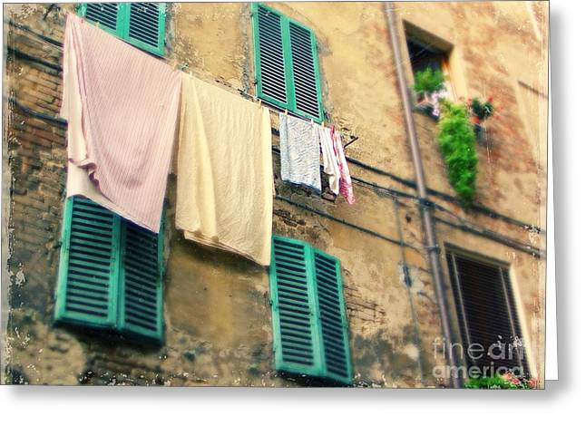 Monterosso Greeting Cards - Laundry in the Cinque Terre Greeting Card by Sylvia Cook