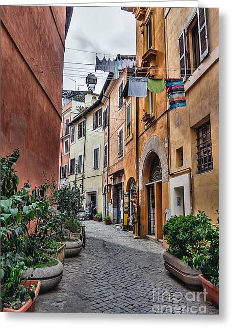 Trastevere Greeting Cards - Laundry in Trastevere district of Rome Greeting Card by Frank Bach