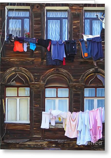 Istanbul Mixed Media Greeting Cards - Laundry Istanbul Greeting Card by Lutz Baar
