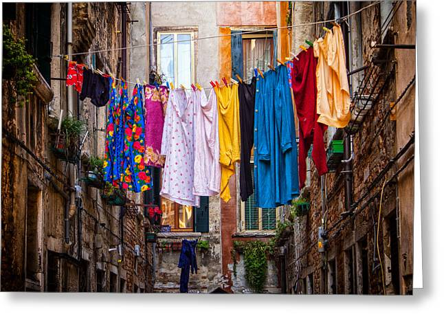 No Clothing Greeting Cards - Laundry line Greeting Card by Dobromir Dobrinov