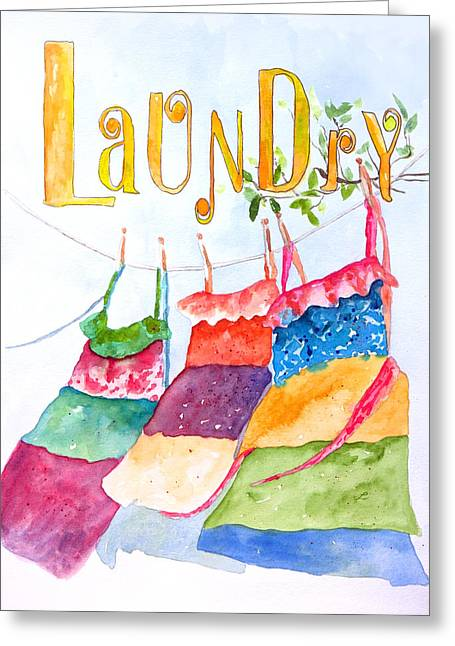 Watercolor Greeting Cards - Laundry Greeting Card by Lynne Furrer