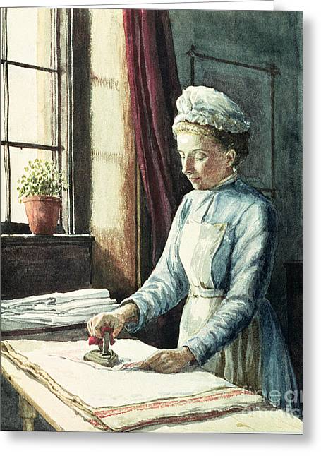 Domestic Scene Greeting Cards - Laundry Maid Greeting Card by English School