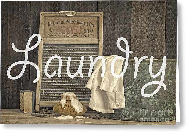Old Washboards Photographs Greeting Cards - Laundry Room Sign Greeting Card by Edward Fielding