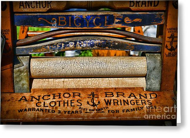 Washtubs Greeting Cards - Laundry The Clothes Wringer Greeting Card by Paul Ward