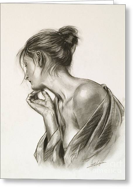 Sepia Chalk Greeting Cards - Laura in deep thought Greeting Card by John Silver