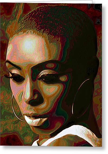Tradigital Art Greeting Cards - Laura Mvula Greeting Card by  Fli Art