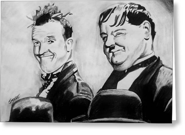 Comedian Pastels Greeting Cards - Laurel And Hardy Greeting Card by Jeremy Moore