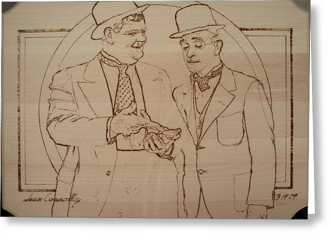 Icons Pyrography Greeting Cards - Laurel And Hardy - Thicker Than Water Greeting Card by Sean Connolly