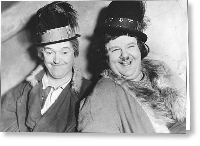 Laurel And Hardy Greeting Cards - Laurel And Hardy Greeting Card by Underwood Archives