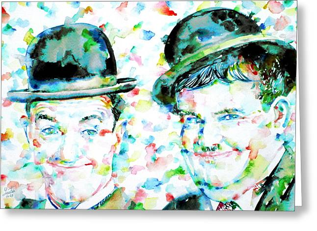 Laurel And Hardy Greeting Cards - LAUREL and HARDY watercolor portrait Greeting Card by Fabrizio Cassetta