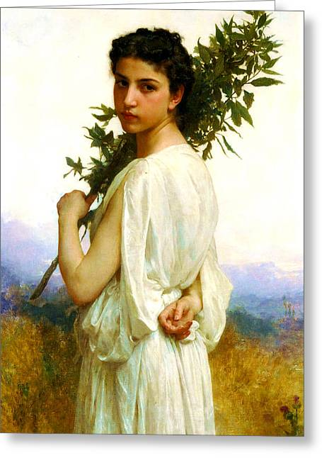 Romanticism Greeting Cards - Laurel Branch Greeting Card by William-Adolphe Bouguereau