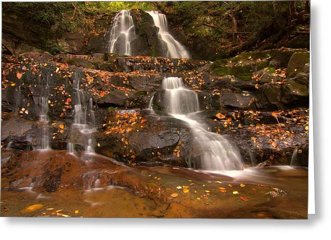 Rain Season Greeting Cards - Laurel Falls In Great Smoky Mountains National Park In Autumn Greeting Card by Dan Sproul
