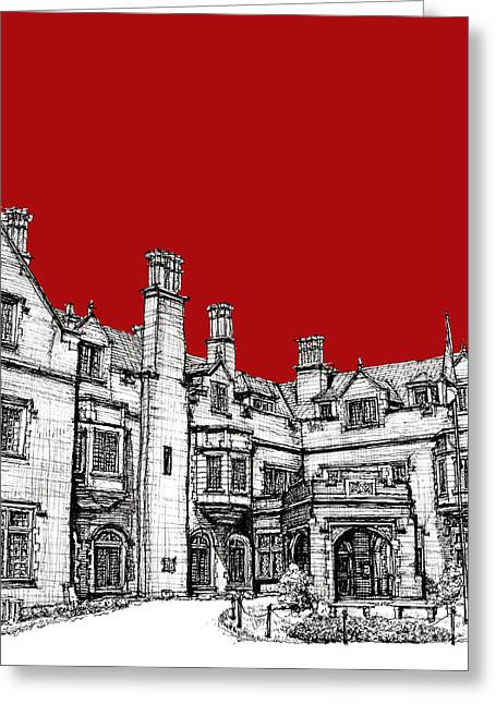 Red Buildings Drawings Greeting Cards - Laurel Hall in red Greeting Card by Lee-Ann Adendorff