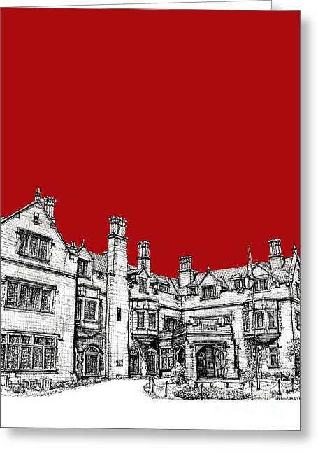 Red Buildings Drawings Greeting Cards - Laurel Hall in red -portrait- Greeting Card by Lee-Ann Adendorff