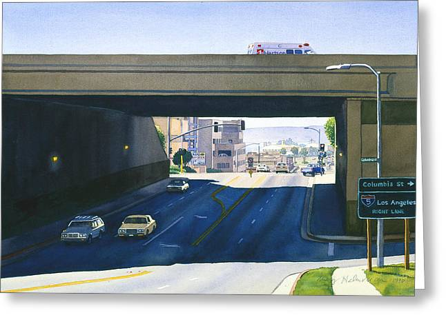 Point Loma Greeting Cards - Laurel Street Bridge San Diego Greeting Card by Mary Helmreich