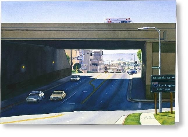 Laurel Street Bridge San Diego Greeting Card by Mary Helmreich