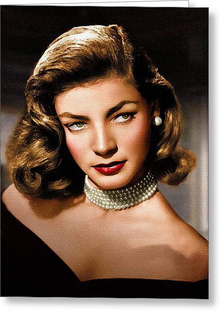 Film Star Greeting Cards - Lauren Bacall Greeting Card by Allen Glass