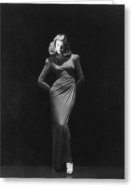 Bacall Greeting Cards - Lauren Bacall Fashion Portrait Greeting Card by Nomad Art And  Design