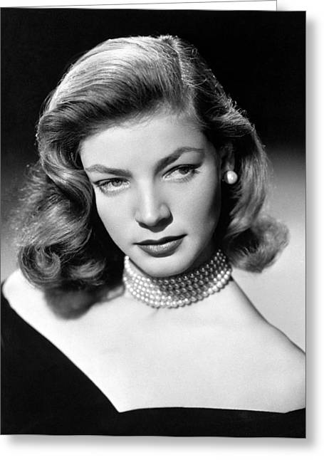 Bacall Greeting Cards - Lauren Bacall Glamour Portrait Greeting Card by Nomad Art And  Design