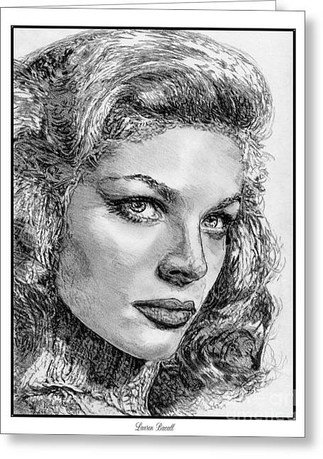 Fame Drawings Greeting Cards - Lauren Bacall Greeting Card by J McCombie